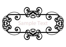 Vintage black banner. Black deco stylized banner, frame or border with copy-space isolated on white (invites, nameplate, wedding or engagement decoration designs Royalty Free Stock Photography