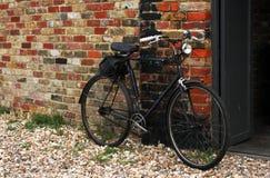 Old vintage black bicycle stock image