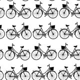 Vintage black bicycles, seamless pattern black and white. vector Royalty Free Stock Photo