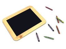 Vintage black board with crayons. Over white background royalty free illustration