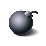 Vintage black bomb icon, cartoon style Royalty Free Stock Image