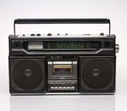 Vintage black boom box on white background Royalty Free Stock Photos