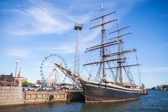 Vintage black brig moored in Helsinki port royalty free stock photos
