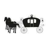Vintage black carriage and black horse  on Royalty Free Stock Image