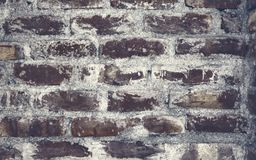 Vintage black colored brick wall background texture. stock images