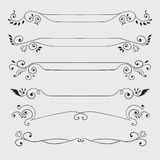 Vintage black curl text dividers  on white Stock Photography