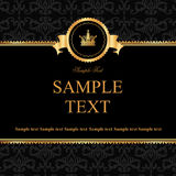 Vintage black damask background with frame of gold Royalty Free Stock Photos