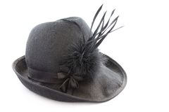 Vintage black feathered hat Stock Photography