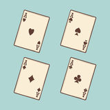 Vintage black four aces cards royalty free illustration