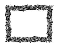 Vintage black frame. Pen and ink. Hand drawn frame. Calligraphy ornament isolated. Grunge background.The design element of postcards, banners, posters vector illustration