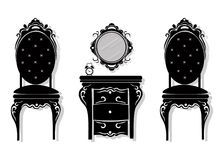 Vintage black furniture set Vector. Rich carved ornaments furniture collection. Vector Victorian Style Royalty Free Stock Photo