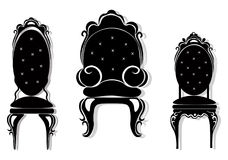 Vintage black furniture set Vector. Rich carved ornaments furniture collection. Vector Victorian Style. Vintage black furniture set Vector. Rich carved ornament Stock Images