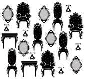 Vintage black furniture set Vector. Rich carved ornaments furniture collection. Vector Victorian Style. Vintage black furniture set Vector. Rich carved ornament Stock Photo