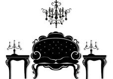 Vintage black furniture set Vector. Rich carved ornaments furniture collection. Vector Victorian Style. S Royalty Free Stock Image