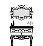 Vintage black furniture set Vector. Rich carved ornaments furniture collection. Vector Victorian Style Royalty Free Stock Images