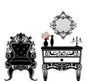 Vintage black furniture set Vector. Rich carved ornaments furniture collection. Vector Victorian Style. S Stock Images