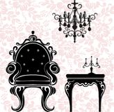 Vintage black furniture set Vector. Rich carved ornaments furniture collection. Vector Victorian Style. S Stock Photo