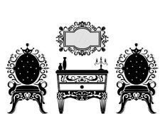 Vintage black furniture set Vector. Rich carved ornaments furniture collection. Vector Victorian Styles Stock Photos