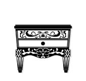 Vintage black furniture Vector. Rich carved ornaments furniture collection. Vector Victorian Style Stock Image