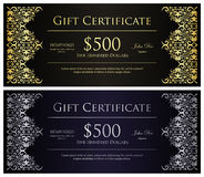 Vintage black gift certificate with golden  Stock Photos