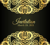 Vintage black invitation cover with golden lace de Stock Images