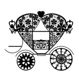 Vintage black lace carriage isolated white background Stock Image