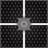 Vintage black lace polka dots vector ornament card Royalty Free Stock Photography