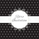 Vintage black lace polka dots vector ornament card Royalty Free Stock Image