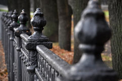 Vintage black metal fence with decorative elements. Royalty Free Stock Images