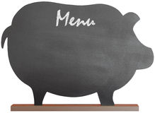 Vintage Black Pig Shaped Chalkboard Message Board. Vintage Black Chalkboard Message Board For Kitchen or Restaurant Menu Or Notes, Isolated With Clipping Path On Stock Images