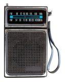 Vintage Black Portable Transistor Radio Isolated. 1960's era transistor radio isolated on a white background Royalty Free Stock Photography