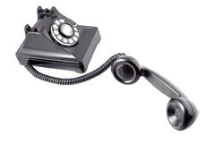 Vintage black rotary phone (with clipping path) Stock Images