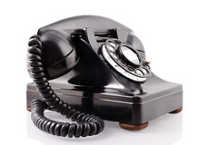 Vintage black rotary phone (with clipping path) Royalty Free Stock Photography