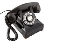 Vintage black rotary phone (with clipping path) Royalty Free Stock Images