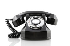 Vintage black rotary phone (with clipping path) Stock Photography