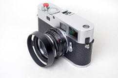 Vintage black and silver camera Royalty Free Stock Photos