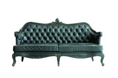 Vintage black sofa isolated royalty free stock images