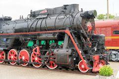 Vintage black steam locomotive old train. stock image