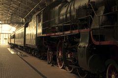 Vintage black steam locomotive train Royalty Free Stock Images