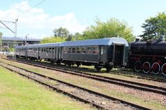 Vintage black steam powered railway train Royalty Free Stock Photo