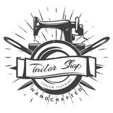 Vintage Black Tailor Label Template. With inscription sewing machine and crossed needles on white background vector illustration Stock Photo