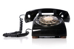 Vintage Black Telephone. Over a white background Royalty Free Stock Photos