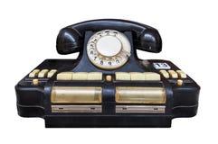 Vintage black telephone. Isolated on a white background Stock Photo