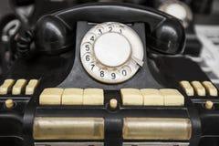 Vintage black telephone. Isolated on a white background Royalty Free Stock Image