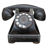 Vintage black telephone. Isolated on a white background Royalty Free Stock Photography