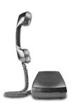 Vintage black telephone with shadow on white background. Vintage black telephone with shadow on a white background Royalty Free Stock Photo