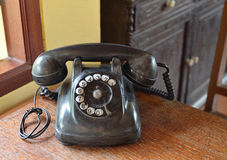 Vintage black telephone Stock Photo