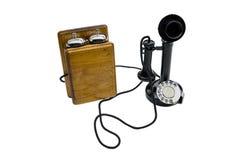 Vintage black telephone on white  background.  Stock Photography