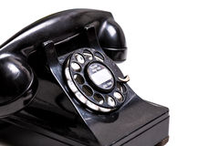 VIntage Black Telephone on white background with copy space Royalty Free Stock Photo