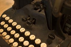 Vintage black typewriter. With ivory keys Royalty Free Stock Photography